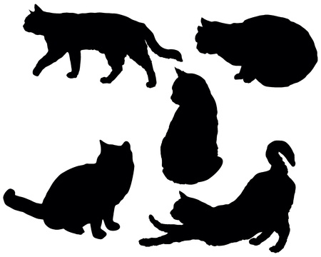 cat stretching: Set of a posing cats silhouettes