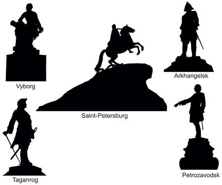 Monuments of Russian emperor Peter I