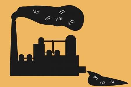 Chemical factory pollutes air and water Illustration