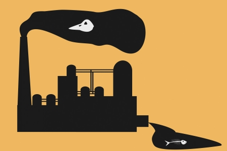 deathly: Dirty chemical factory kills all livings Illustration