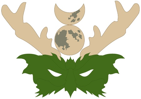 wiccan: Mask of the Wiccan Horned God, or Green Man