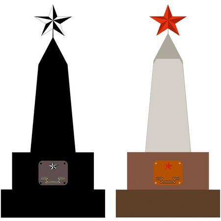 obelisk stone: Grave of a soviet warrior falled in World War II