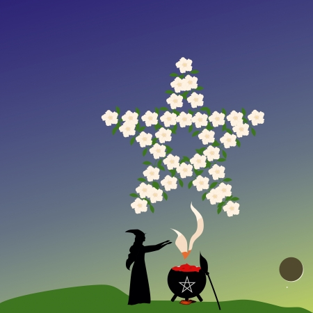 boils: Evening of Beltaine, a young witch boils a love potion under the conjuncted Moon and Venus