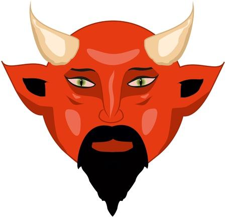 horn like: Portrait of a red bald devil Illustration