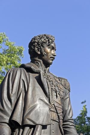 minister of war: Monument of Alexander Chernyshev in Chernyshevs estate in Lytkarino, Moscow area. Alexander Chernyshev (1786-1857) was the ajutant general, hero of the Patriotic War 1812, War minister
