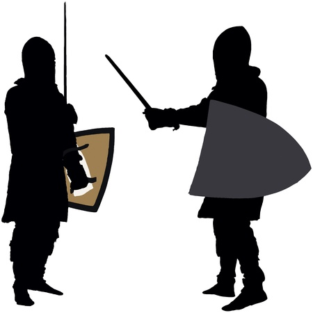 feudalism: Posing medieval knight with a sword and shield,  silhouettes