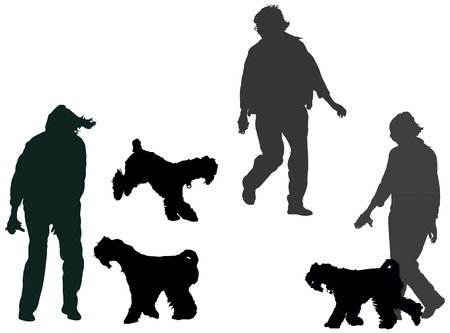 Woman walking and playing with kerry-blue-terrier, set of the  silhouettes Vector
