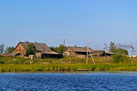 Karelian village, view from the river Stock Photo