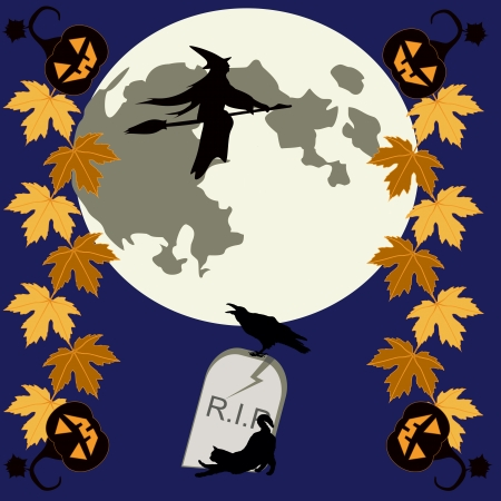 samhain: Halloween theme with pumpkins, autumnal leaves, flying witch, tombstone, raven and black cat