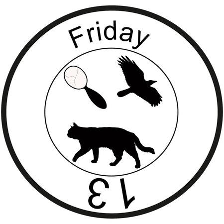 friday 13: Bad omen: friday 13, broken mirror, flying crow, walking black cat