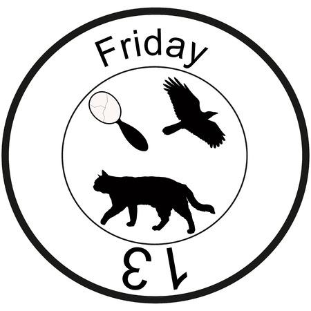 friday 13: Bad omen: friday 13, broken mirror, flying crow, walking black cat