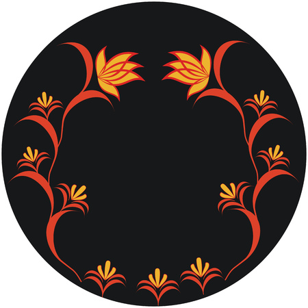 halm: Autumnal pattern, abstract drooping flower on black background Illustration