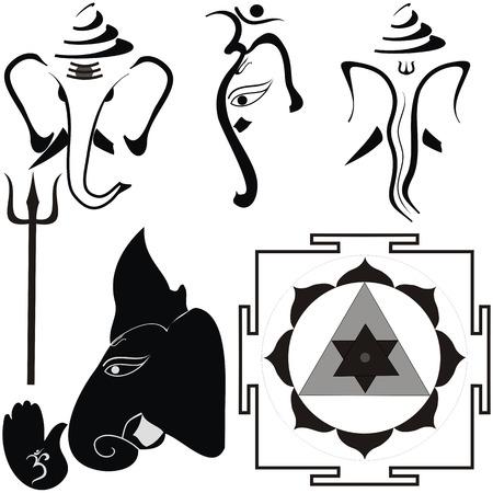 hindu god: Dios hind� Shri Ganesha y sus atributos, yantra y trishul Vectores