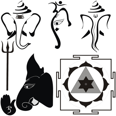 Hindu God Shri Ganesha and his attributes, yantra and trishul Vector