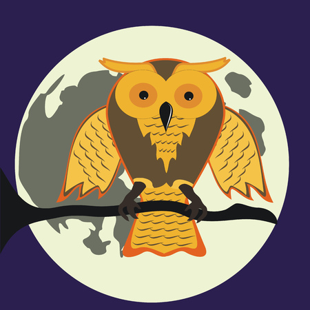 samhain: Cartoon owl at Halloween night Illustration