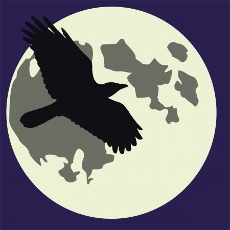 Full Moon and black raven silhouette at Halloween Illustration