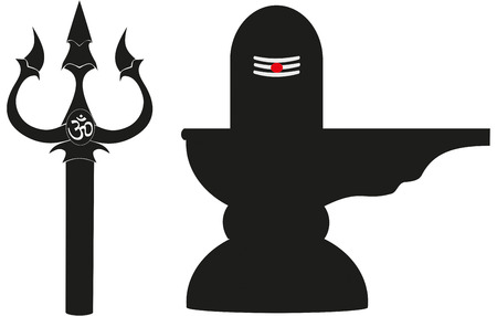 Sacred symbols of Hindu God Shiva: trident or Trishul and Lingam Vector