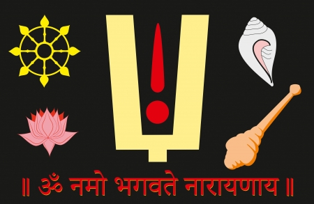Attributes of Lord Shri Vishnu: tilaka, chakra or disc, padma or lotus, shankha or сonch, gada or club and Shri Vishnu mantra Om Namo Bhagavate Narayanaya Illustration