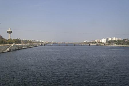 gujarat: Ahmedabad, Gujarat. River Sabarmati, view from Ellis bridge to Jawaharlal Nehru bridge