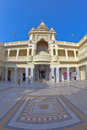 gujarat: JANUARY 28, 2014, PORBANDAR, GUJARAT, INDIA - Kirti Mandir, memorial complex at Mahatma Gandhis birthplace  Fish-eye lens