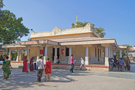 shri: JANUARY 29, 2014, BHALKA TIRTHA, GUJARAT, INDIA - Temple of Lord Shri Krishna at Bhalka Tirtha between Veraval and Somnath  At this place Lord Krishna disappeared from  our world