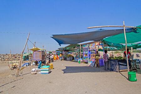 gujarat: JANUARY 29, 2014, SOMNATH, GUJARAT, INDIA - Market at Somnath Beach  Somnath is the famous pilgrimage center and popular sea resort