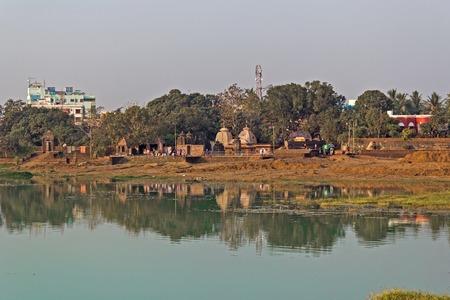 Sacred lake Bindu Sarovar or Bindu Sagar in Bhubaneshwar, Orissa