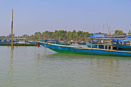 chilika: Boats on Chilika lake, Orissa, India