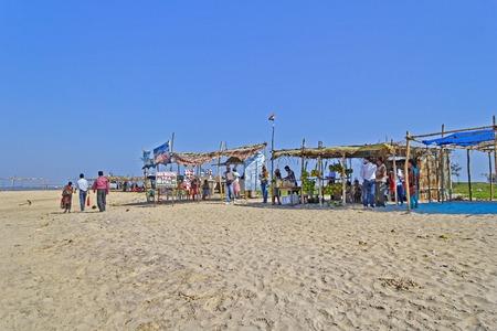 chilika: FEBRUARY 7, 2014, CHILIKA LAKE, ORISSA, INDIA - Market on the sandy beach of Chilika lake