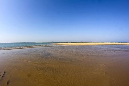 chilika: Orissa. Conjuncion of Chilika lake and Bengal bay, fisheye lens Stock Photo