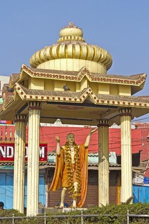 shri: FEBRUARY 8, 2014, PURI, ORISSA, INDIA - Monument of Shri Krishna Chaitanya Mahaprabhu aka Gauranga  Shri Gauranga  1486-1534  was the founder of modern Gaudiya Vaishnavism and his followers respects him as incarnation of Radha and Krishna Editorial