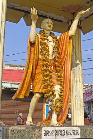 founder: FEBRUARY 8, 2014, PURI, ORISSA, INDIA - Monument of Shri Krishna Chaitanya Mahaprabhu aka Gauranga  Shri Gauranga  1486-1534  was the founder of modern Gaudiya Vaishnavism and his followers respects him as incarnation of Radha and Krishna Editorial
