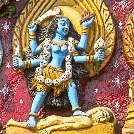 Image of the Goddess Kali on the wall of Kali temple in Puri Stock Photo - 28101388