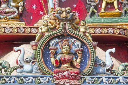 Image of the Hindu Goddess Lakshmi on the wall of Kali temple in Puri Stock Photo - 28101389