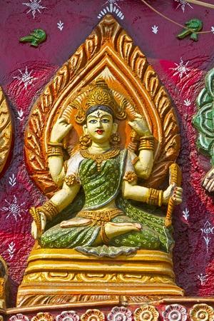 Image of Hindu Goddess on the wall of Kali temple in Puri Stock Photo - 28101390