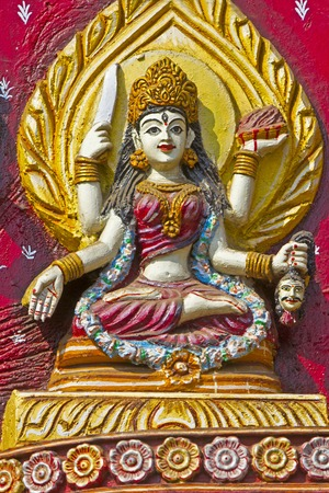 Image of Hindu Goddess on the wall of Kali temple in Puri Stock Photo - 28101392