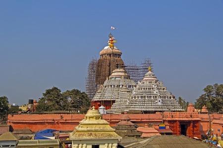 Ancient temple of Krishna Jagannath (Lord of Univerce), his brother Baladev and sister Subhadra in Puri Stock Photo