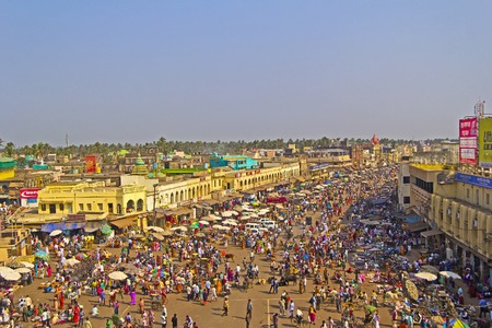 FEBRUARY 8, 2014, PURI, ORISSA, INDIA - Square in front of Jagannath temple and Main Road, view from the roof of library