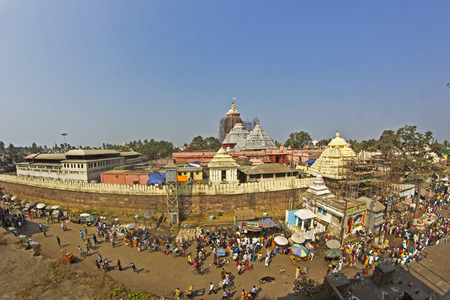 puri: FEBRUARY 8, 2014, PURI, ORISSA, INDIA - Ancient temple of Shri Krishna Jagannath, Lord of Univerce. View from the roof of the state library, fish-eye lens