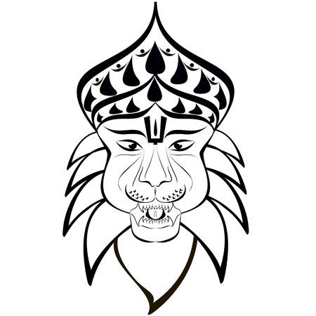 Shri Nrisimha or Narasimha, 4th incarnation of Lord Vishnu as half-man half-lion. Outline drawing Stock Vector - 28488270
