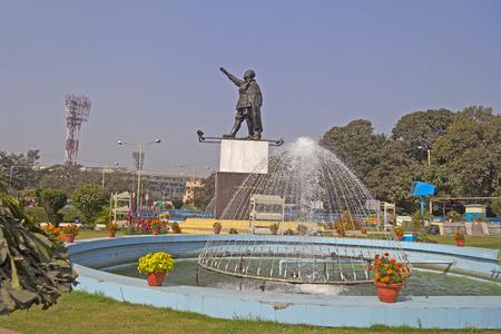 freedom fighter: FEB 09, 2014, CALCUTTA, WEST BENGAL, INDIA - Monument of the famous Indian freedom fighter Netaji Subhash Chandra Bose in front of Netaji stadium