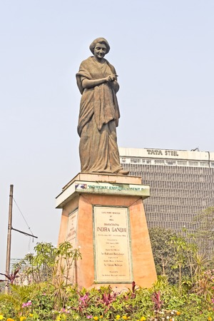 calcutta: FEBRUARY 10, 2014, CALCUTTA, WEST BENGAL, INDIA - Monument of Indira Gandhi in central part of Calcutta Editorial