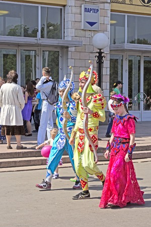 sita: MAY 18, 2014, MOSCOW, LUZHNIKI. RUSSIA - Three devotees weare as Sita, Rama and Lakshman on the Moscow Ratha-Yatra festival