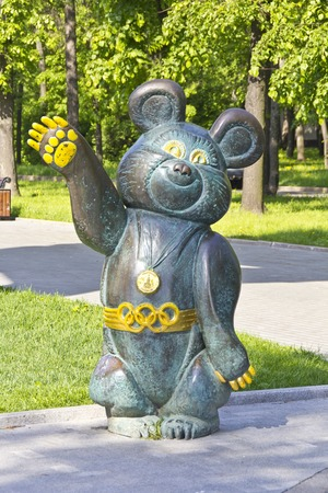 olympic symbol: MAY 18, 2014, MOSCOW, LUZHNIKI. RUSSIA - Sculpture of the Olympic Bear, symbol of the Moscow Olympic Games in 1980 close to stadium in Luzhniki, Moscow