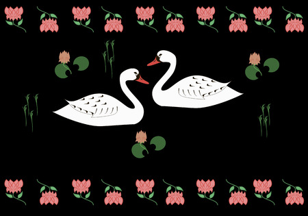 Couple of beloved swans, painting in Indian style Vector