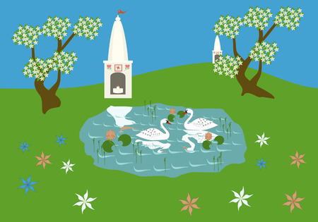 ahimsa: Peaceful Indian landscape, a pond with two swans, temples and blossoming trees. Vector image Illustration