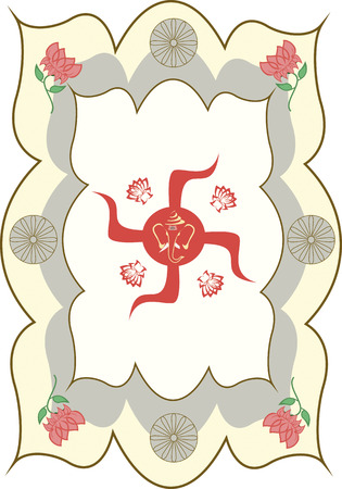 auspicious: The auspicious symbol, Hindu Swastika and Shri Ganesha Illustration