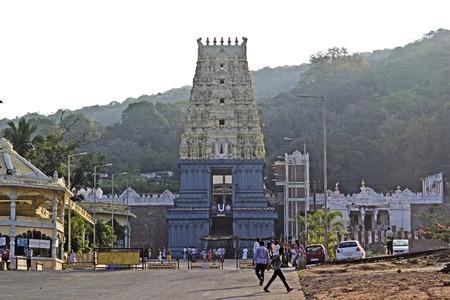 andhra: FEBRUARY 12, 2014, SIMHACHALAM, VISHAKHAPATNAM DISTRICT, ANDHRA PRADESH, INDIA - Ancient temple of Jiyada Nrisimha, avatara of Lord Vishnu on the top of mountain Simhadri Editorial