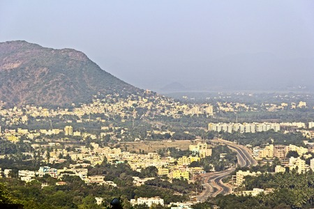 andhra: Aerial view to town Simhachalam, Vishakhapatnam district, Andhra Pradesh, India from mountain Simhadri