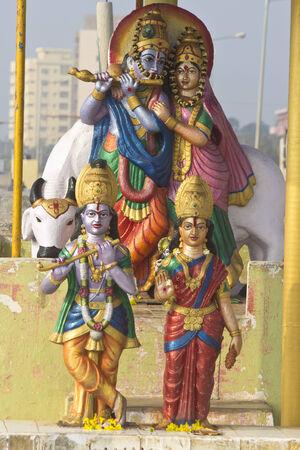 andhra: FEBRUARY 13, VISHAKHAPATNAM, ANDHRA PRADESH, INDIA - Deities of Radha and Krishna in the litttle shrine